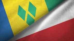 Άγιος Βικέντιος και Γρεναδίνες και Πολωνία δύο σημαίες διανυσματική απεικόνιση