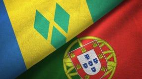 Άγιος Βικέντιος και Γρεναδίνες και Πορτογαλία δύο σημαίες ελεύθερη απεικόνιση δικαιώματος