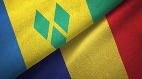Άγιος Βικέντιος και Γρεναδίνες και Ρουμανία δύο σημαίες διανυσματική απεικόνιση