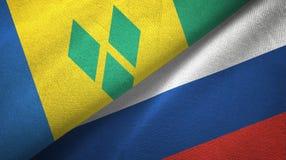 Άγιος Βικέντιος και Γρεναδίνες και Ρωσία δύο σημαίες διανυσματική απεικόνιση