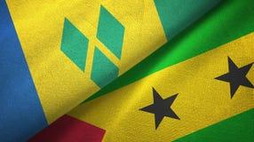 Άγιος Βικέντιος και Γρεναδίνες και Σάο Τομέ και Πρίντσιπε δύο σημαίες διανυσματική απεικόνιση