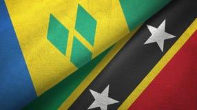 Άγιος Βικέντιος και Γρεναδίνες και Σαιντ Κιτς και Νέβις δύο σημαίες ελεύθερη απεικόνιση δικαιώματος