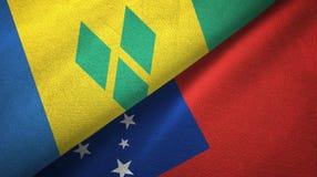 Άγιος Βικέντιος και Γρεναδίνες και Σαμόα δύο σημαίες απεικόνιση αποθεμάτων