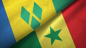 Άγιος Βικέντιος και Γρεναδίνες και Σενεγάλη δύο σημαίες ελεύθερη απεικόνιση δικαιώματος