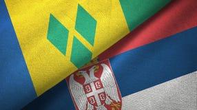 Άγιος Βικέντιος και Γρεναδίνες και Σερβία δύο σημαίες απεικόνιση αποθεμάτων