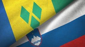 Άγιος Βικέντιος και Γρεναδίνες και Σλοβενία δύο σημαίες ελεύθερη απεικόνιση δικαιώματος