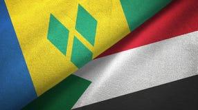 Άγιος Βικέντιος και Γρεναδίνες και Σουδάν δύο σημαίες διανυσματική απεικόνιση
