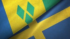 Άγιος Βικέντιος και Γρεναδίνες και Σουηδία δύο σημαίες απεικόνιση αποθεμάτων