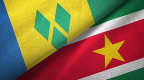 Άγιος Βικέντιος και Γρεναδίνες και Σουρινάμ δύο σημαίες διανυσματική απεικόνιση