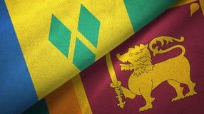 Άγιος Βικέντιος και Γρεναδίνες και Σρι Λάνκα δύο σημαίες διανυσματική απεικόνιση