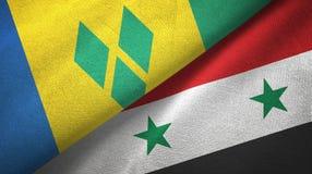 Άγιος Βικέντιος και Γρεναδίνες και Συρία δύο σημαίες διανυσματική απεικόνιση