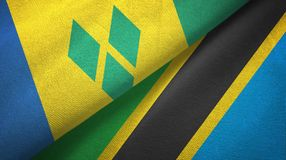Άγιος Βικέντιος και Γρεναδίνες και Τανζανία δύο σημαίες απεικόνιση αποθεμάτων