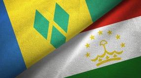 Άγιος Βικέντιος και Γρεναδίνες και Τατζικιστάν δύο σημαίες διανυσματική απεικόνιση