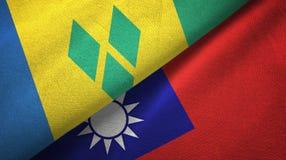 Άγιος Βικέντιος και Γρεναδίνες και Ταϊβάν δύο σημαίες διανυσματική απεικόνιση