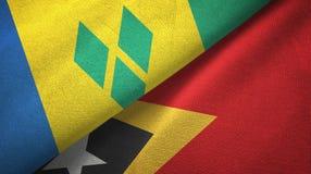 Άγιος Βικέντιος και Γρεναδίνες και Τιμόρ-Leste Ανατολικό Τιμόρ δύο σημαίες ελεύθερη απεικόνιση δικαιώματος