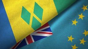 Άγιος Βικέντιος και Γρεναδίνες και Τουβαλού δύο σημαίες απεικόνιση αποθεμάτων