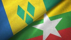 Άγιος Βικέντιος και Γρεναδίνες και το Μιανμάρ δύο σημαίες ελεύθερη απεικόνιση δικαιώματος
