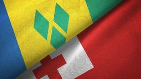 Άγιος Βικέντιος και Γρεναδίνες και Τόνγκα δύο σημαίες απεικόνιση αποθεμάτων