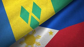 Άγιος Βικέντιος και Γρεναδίνες και Φιλιππίνες δύο σημαίες απεικόνιση αποθεμάτων