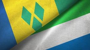 Άγιος Βικέντιος και Γρεναδίνες και Sierra Leone δύο σημαίες απεικόνιση αποθεμάτων
