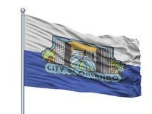 Άγιος Δαβίδ City Flag On Flagpole, UK, απομόνωσε στο άσπρο υπόβαθρο Απεικόνιση αποθεμάτων