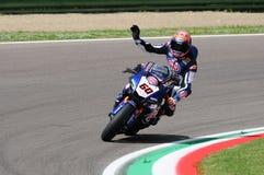 Άγιος Μαρίνος Ιταλία - 12 Μαΐου: Επίσημη ομάδα SBK Rizla του Michael van der Mark NED Yamaha YZF R1 Pata Yamaha, στη δράση Στοκ Εικόνες