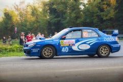 Άγιος Μαρίνος στις 21 Οκτωβρίου 2017 - SUBARU IMPREZA WRC στη συνάθροιση ο μύθος στοκ εικόνες