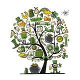 Άγιος Πάτρικ Day, δέντρο τέχνης Σκίτσο για το σχέδιό σας Στοκ Φωτογραφίες