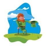 Άγιος Πάτρικ lemprechaun με τον κάλαμο στον τομέα ελεύθερη απεικόνιση δικαιώματος