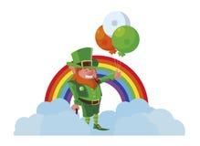 Άγιος Πάτρικ lemprechaun με το ήλιο και το ουράνιο τόξο μπαλονιών ελεύθερη απεικόνιση δικαιώματος
