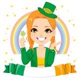 Άγιος Πάτρικ Leprechaun Girl Banner απεικόνιση αποθεμάτων
