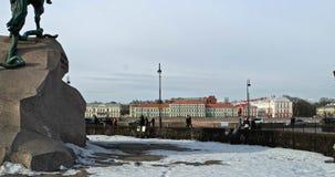 Άγιος Πετρούπολη, Ρωσία στις 2 Μαρτίου 2019: Μνημείο του ρωσικού αυτοκράτορα Μέγας Πέτρος, γνωστό ως ιππέας χαλκού μέσα φιλμ μικρού μήκους