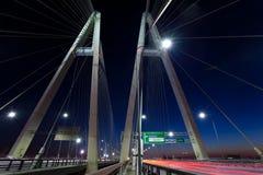 Άγιος-Πετρούπολη Ρωσία Καλώδιο-ενισχυμένη γέφυρα τη νύχτα στοκ φωτογραφία