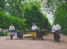 Άγιος Πετρούπολη, Ρωσία - τον Ιούνιο του 2016 - μουσικοί οδών που παίζουν το xylophone στοκ φωτογραφία με δικαίωμα ελεύθερης χρήσης