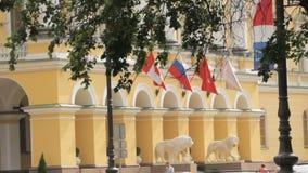 Άγιος Πετρούπολη, Ρωσική Ομοσπονδία - 1 Ιουλίου 2016: Ρωσικοί και καναδικοί κυματισμοί σημαιών στον αέρα σε ένα κτήριο απόθεμα βίντεο