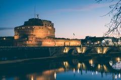 Άγιος Angelo Castle και γέφυρα του ST Angelo στη Ρώμη, Ιταλία Vintag Στοκ φωτογραφίες με δικαίωμα ελεύθερης χρήσης