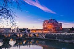 Άγιος Angelo Castle τή νύχτα, Ρώμη, Ιταλία Στοκ Εικόνα
