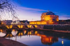 Άγιος Angelo Castle τή νύχτα, Ρώμη, Ιταλία Στοκ Εικόνες