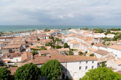 Άγιος Martin EN σχετικά με - Ile de Re Nouvelle Aquitaine/Γαλλία - 05 03 2019: εναέριο νησί ile de ré τοπ άποψης στη Γαλλία στοκ φωτογραφίες