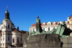 Άγιος nepomuk στην παλαιά πλατεία της πόλης Στοκ Φωτογραφία