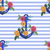 Άγκυρα με τα τριαντάφυλλα ελεύθερη απεικόνιση δικαιώματος