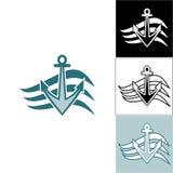 Άγκυρα λογότυπων στα κύματα Στοκ Εικόνα