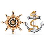 Άγκυρα τη ρόδα σχοινιών και σκαφών που απομονώνεται με στο λευκό Στοκ εικόνα με δικαίωμα ελεύθερης χρήσης