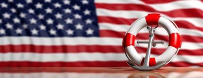 Άγκυρα Lifebuoy και σκαφών στις ΗΠΑ του υποβάθρου σημαιών της Αμερικής, έμβλημα τρισδιάστατη απεικόνιση ελεύθερη απεικόνιση δικαιώματος