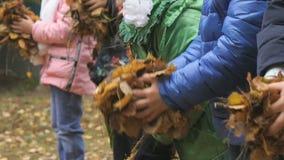 Άγνωστα μικρά παιδιά στο φθινοπωρινό πάρκο απόθεμα βίντεο
