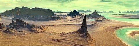 Άγνωστος πλανήτης Βουνά πανόραμα Στοκ εικόνες με δικαίωμα ελεύθερης χρήσης