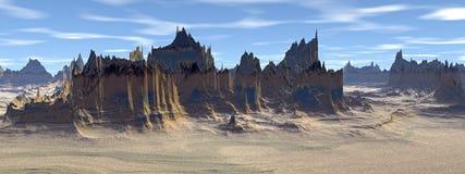 Άγνωστος πλανήτης Βουνά πανόραμα Στοκ Φωτογραφία
