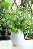 Άγρια ανθοδέσμη λουλουδιών στο βάζο Στοκ Εικόνες