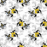 Άγρια εξωτικά πουλιά Watercolor στο άνευ ραφής σχέδιο λουλουδιών στο άσπρο υπόβαθρο Στοκ Εικόνα