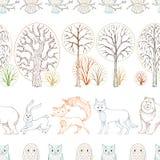 Άγρια ζώα στο δασικό διανυσματικό άνευ ραφής σχέδιο φθινοπώρου διανυσματική απεικόνιση